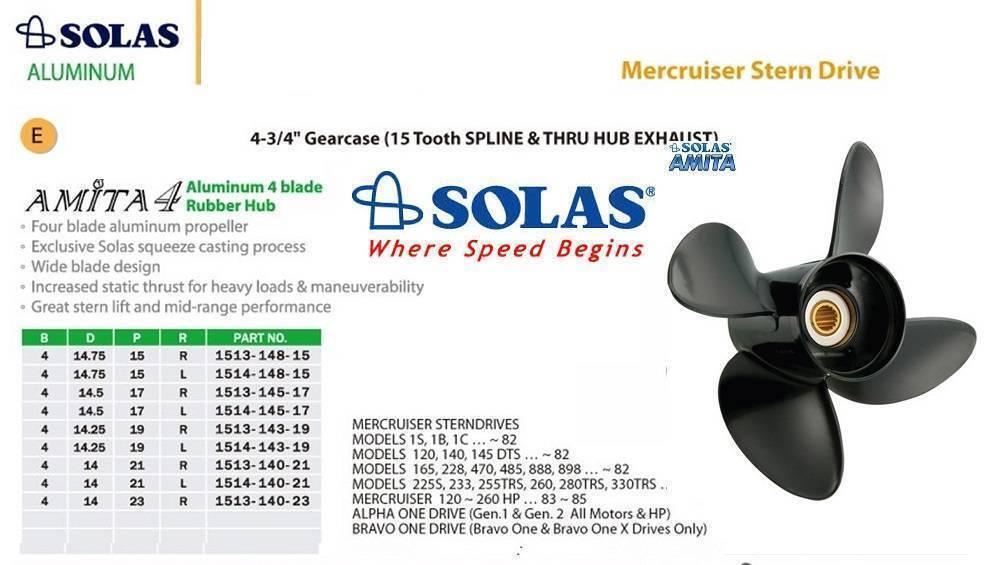 Solas Propeller Alu 4-14 x 21  für Mercruiser Alpha One /& Bravo One