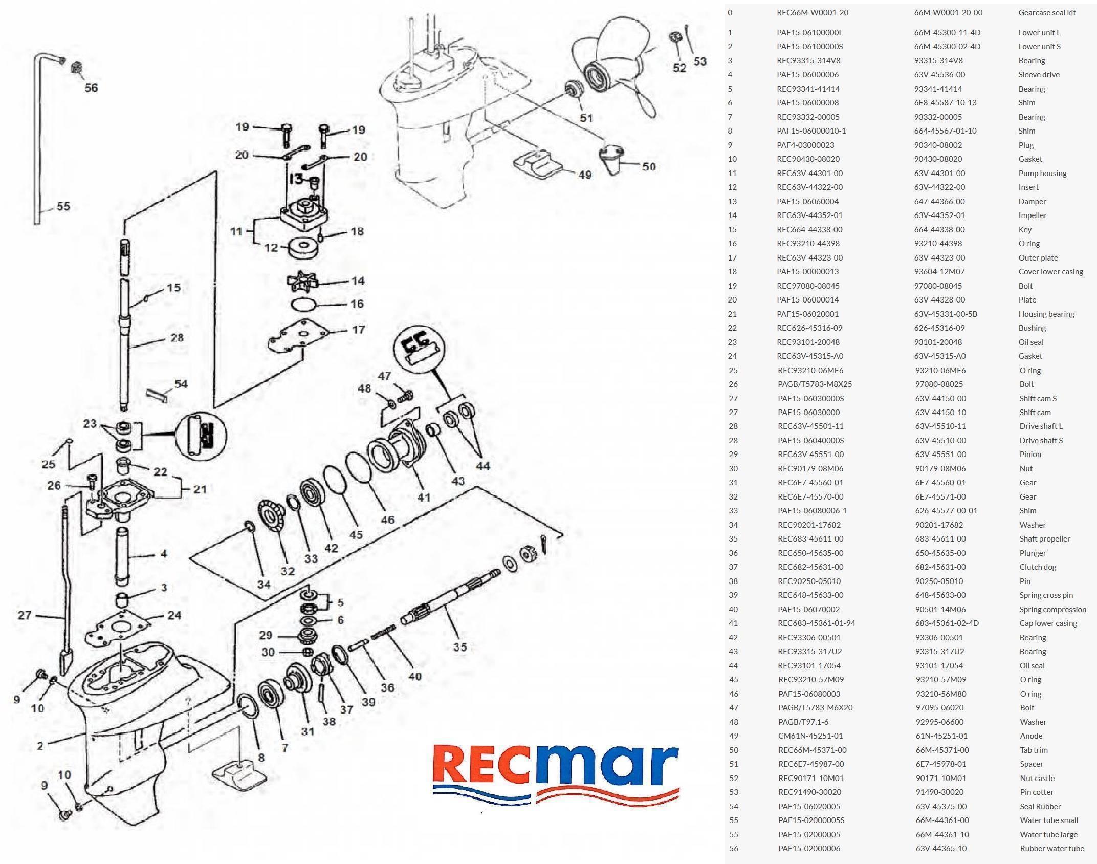 engine parts    yamaha    gearcase components